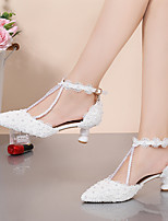 cheap -Women's Wedding Shoes Stiletto Heel Pointed Toe Wedding Sandals Party Wedding PU Pearl Satin Flower Lace Solid Colored Purple Yellow Red