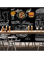 cheap -Mural Wallpaper Wall Sticker Custom Self-adhesive Dining Illustration Burger Fried Chicken PVC / Vinyl Suitable For Living Room Bedroom Restaurant Hotel Wall Decoration Art  Home Decor