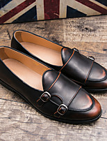 cheap -Men's Loafers & Slip-Ons Business British Daily Office & Career Walking Shoes Faux Leather Booties / Ankle Boots Red Black Brown Fall Summer