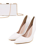 cheap -Women's Heels Wedding Shoes Stiletto Heel Pointed Toe Wedding Pumps Party Wedding PU Rivet Solid Colored White