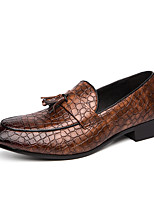cheap -Men's Loafers & Slip-Ons Casual Classic British Daily Office & Career PU Dark Red Black Brown Fall Spring
