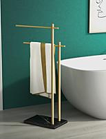 cheap -Brushed Gold Floor Type Bathtub Towel Rack Bathtub Side Column Type Bath Towel Rack Double-Layer Towel Rack