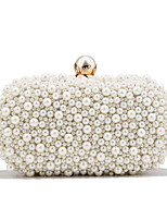 cheap -Women's Bags Polyester Evening Bag Pearls Chain Party / Evening Daily Retro Evening Bag Chain Bag White Beige