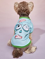 cheap -Dog Cat Halloween Costumes T-shirts Person Party Cosplay Halloween Casual / Daily Dog Clothes Puppy Clothes Dog Outfits Breathable Light Blue Costume for Girl and Boy Dog Polyster S M L