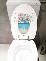 cheap -Floral Plants Wall Stickers Bathroom Toilet Removable PVC Home Decoration Wall Decal 1pc