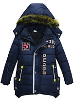 cheap -Kids Boys' Coat Parka Long Sleeve Blue Army Green Green Number Letter Zipper Pocket Cotton Casual Daily Active Cool 3-8 Years / Winter