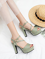 cheap -Women's Sandals Chunky Heel Peep Toe Party Daily PU Buckle Solid Colored Pink Green White
