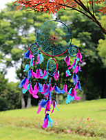 cheap -Creative colorful spider web feather dreamcatcher home crafts wall mounted feather pendant