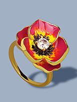 cheap -Women Ring AAA Cubic Zirconia Fancy Gold-Red Brass Floral Theme Flower Shape Artistic Elegant European 1pc / Women's