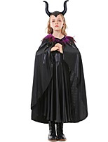cheap -Maleficent Cosplay Costume Kid's Girls' Halloween Halloween Halloween Festival / Holiday Terylene Black Easy Carnival Costumes Solid Color / Dress / Cloak / Headwear