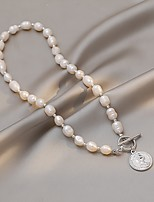 cheap -Choker Necklace Beaded Necklace Women's Beads Pearl Shell Mini European Trendy Sweet Lovely Wedding Silver Gold 43 cm Necklace Jewelry 1pc for Street Carnival Festival irregular
