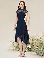 cheap -A-Line Flirty Elegant Homecoming Wedding Guest Dress Jewel Neck Sleeveless Asymmetrical Tea Length Chiffon with Lace Insert 2021