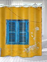 cheap -Retro Wooden Window Series Digital Printing Shower Curtain Shower Curtains  Hooks Modern Polyester New Design