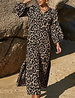 cheap -Women's Shift Dress Maxi long Dress Photo Color Long Sleeve Leopard Print Split Fall Winter V Neck Stylish Casual Vacation 2021 S M L XL / Holiday