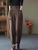 cheap -Women's Casual Fashion Comfort Chinos Casual Weekend Pants Plain Full Length Pocket Elastic Waist Khaki Black Red Coffee