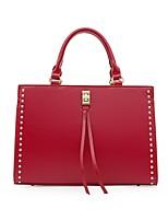 cheap -Women's Bags PU Leather Tote Crossbody Bag Top Handle Bag Buttons Zipper Plain Solid Color Vintage Daily Outdoor Retro Leather Bag Handbags White Black Red Brown