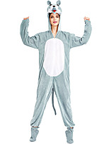 cheap -Adults' Kigurumi Pajamas Nightwear Wolf Onesie Pajamas Velvet Light Blue Cosplay For Men and Women Animal Sleepwear Cartoon Festival / Holiday Costumes