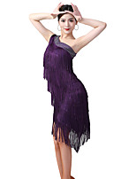 cheap -Latin Dance Dress Crystals / Rhinestones Women's Training Performance Sleeveless Milk Fiber