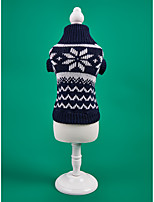 cheap -Dog Cat Sweater Christmas Costume Snowflake Classic Simple Style Christmas Casual / Daily Winter Dog Clothes Puppy Clothes Dog Outfits Warm Light Red Blue Costume for Girl and Boy Dog Polyster XS S M