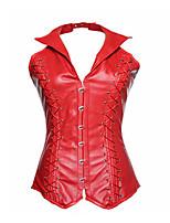 cheap -Women's Halloween Corset Plain Drawstring Strapless Vintage Sexy Punk & Gothic Tops Red