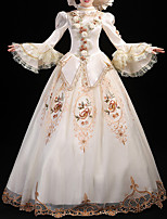 cheap -Ball Gown Elegant Vintage Halloween Quinceanera Dress High Neck Long Sleeve Floor Length Satin with Lace Insert Appliques 2021