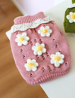 cheap -Dog Cat Sweater Flower Adorable Cute Dailywear Casual / Daily Winter Dog Clothes Puppy Clothes Dog Outfits Pink Green Costume for Girl and Boy Dog Cotton XS S M L XL