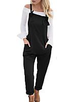 cheap -Women's Chic & Modern Streetwear Comfort Jumpsuit Casual Weekend Pants Plain Full Length Pocket Blue Blushing Pink Wine Army Green Grey
