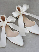 cheap -Women's Wedding Shoes Flat Heel Pointed Toe Wedding Daily Satin Bowknot Solid Colored Blue Burgundy Ivory
