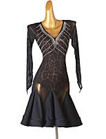 cheap -Latin Dance Dress Splicing Crystals / Rhinestones Women's Training Performance Long Sleeve Chinlon Mesh
