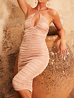 cheap -A-Line Sexy bodycon Holiday Party Wear Dress Halter Neck Sleeveless Knee Length Cotton Blend with Ruched 2021