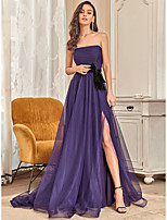 cheap -A-Line Elegant Engagement Formal Evening Dress Off Shoulder Sleeveless Floor Length Tulle with Sash / Ribbon Bow(s) 2021