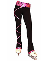 cheap -Figure Skating Pants Women's Girls' Ice Skating Tights Leggings Fuchsia Fleece Spandex High Elasticity Training Practice Competition Skating Wear Thermal Warm Patchwork Ice Skating Figure Skating