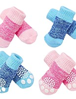 cheap -Dog Cat Socks Soft Portable Solid Colored For Pets Terylene Blue