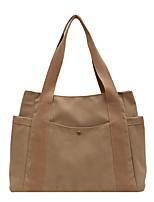 cheap -Women's Bags Canvas Synthetic Tote Top Handle Bag Canvas Tote Bag Zipper Plain Solid Color Vintage Daily Outdoor Retro Canvas Bag Handbags Khaki White Black