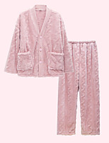 cheap -Women's Warm Suits Pajamas Home Bed Basic Pure Color Polyester Plush Simple Pant Fall Winter V Wire Long Sleeve Long Pant
