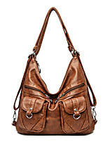 cheap -Women's Bags PU Leather Tote Top Handle Bag Zipper Plain Solid Color Vintage Daily Outdoor Retro Leather Bag Handbags Gray Black Red Brown