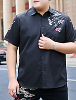 cheap -Men's Shirt Graphic Animal Plus Size Formal Style Classic Short Sleeve Business Tops Sports & Outdoors Ordinary Modern Style Black
