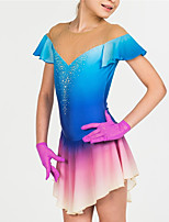 cheap -Figure Skating Dress Women's Girls' Ice Skating Dress Blue Halo Dyeing Spandex High Elasticity Training Competition Skating Wear Patchwork Short Sleeve Ice Skating Figure Skating