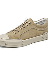 cheap -Men's Sneakers Sporty Casual Classic Daily Outdoor Fitness & Cross Training Shoes Leather Pigskin Almond Khaki Fall Winter