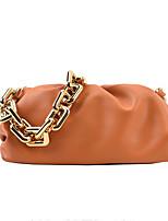 cheap -Women's Bags PU Leather Top Handle Bag Zipper Chain Plain Solid Color Vintage Daily Outdoor Leather Bag Handbags Chain Bag Blue Orange White Black