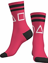 cheap -Socks Cycling Socks Men's Women's Bike / Cycling Breathable Soft Comfortable 1 Pair Stripes Geometric Cotton Rose Red S M L / Stretchy