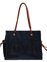 cheap -Women's Bags Synthetic Denim Tote Crossbody Bag Top Handle Bag Zipper Solid Color Daily Outdoor Retro Tote Blue