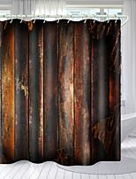 cheap -Retro Wood Board Series Digital Printing Shower Curtain Shower Curtains  Hooks Modern Polyester New Design