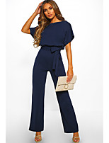cheap -Jumpsuits Minimalist Elegant Wedding Guest Engagement Dress Boat Neck Short Sleeve Floor Length Cotton with Strappy 2021