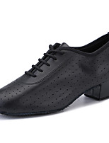 cheap -Women's Latin Shoes Practice Trainning Dance Shoes Professional Cuban Heel Closed Toe Silver Black Adults' Lace up