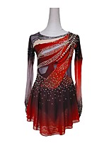 cheap -Figure Skating Dress Women's Girls' Ice Skating Dress Red Patchwork Spandex High Elasticity Training Competition Skating Wear Patchwork Crystal / Rhinestone Long Sleeve Ice Skating Figure Skating