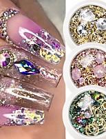 cheap -6 Box Crystal Nails Rhinestones Metal Rivet Shiny Gems Stones 3D DIY Tips Charm Nail Art Decorations Design Manicure Diamonds