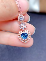 cheap -Pendant Necklace Necklace Women's Classic Cubic Zirconia Rose Gold Plated Simple Fashion Classic Casual / Sporty Sweet Cute Blue 45 cm Necklace Jewelry 1pc for Street Gift Daily Prom Festival