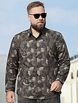 cheap -Men's Shirt Trees / Leaves Plus Size Modern Style Stylish Long Sleeve Athleisure Tops Sports & Outdoors Stylish Brown