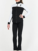 cheap -Figure Skating Jacket with Pants Women's Girls' Ice Skating Top Bottoms Black Patchwork Spandex High Elasticity Training Competition Skating Wear Patchwork Long Sleeve Ice Skating Figure Skating